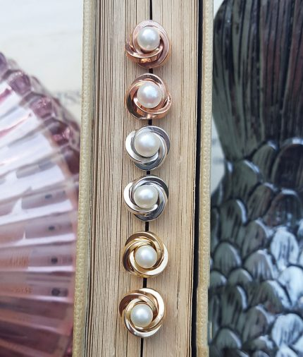 9ct Gold 8mm Knot & Pearl Stud Earrings