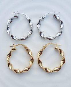 9ct Gold Hoop 2.4cm Earrings Twist Detail