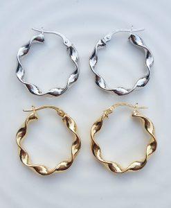 9ct Gold Hoop 2.4cm Earrings Twist Detail