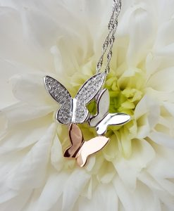 9ct Two Colour Gold & Diamond Butterfly Slider & Chain