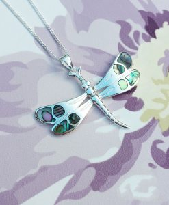 Sterling Silver Pave Shell Dragonfly Pendant on Chain Necklace