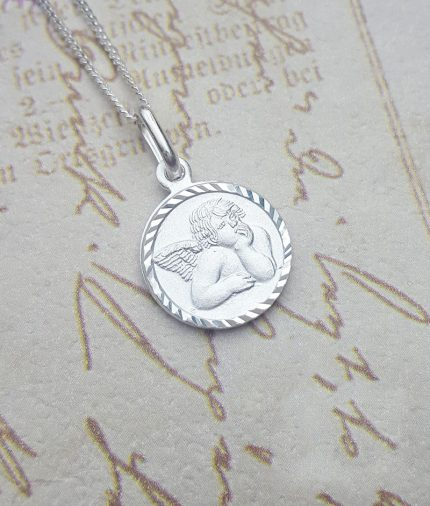 Sterling Silver Round Angel Necklace