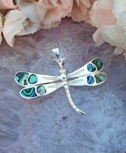 Sterling Silver Paua Shell Dragonfly Pendant on Chain Necklace