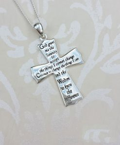 Sterling Silver Serenity Prayer Cross Pendant Necklace