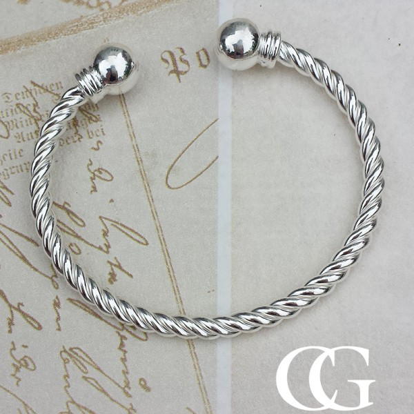 Ladies Silver Torque Bangle ouDYWCp