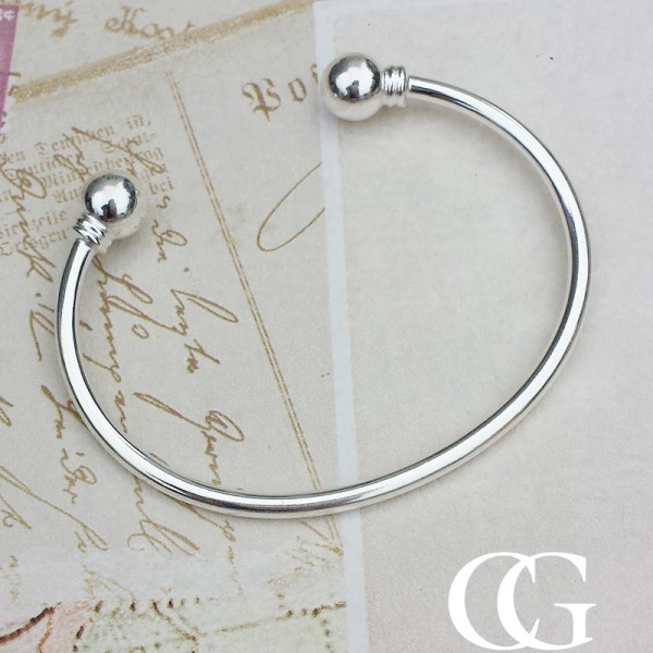 Unisex Solid Silver Torque Style Bangle Chains Of Gold