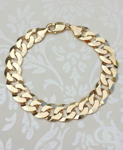 Men's 1oz Chunky Curb Bracelet Solid 9ct Gold | Chains of Gold
