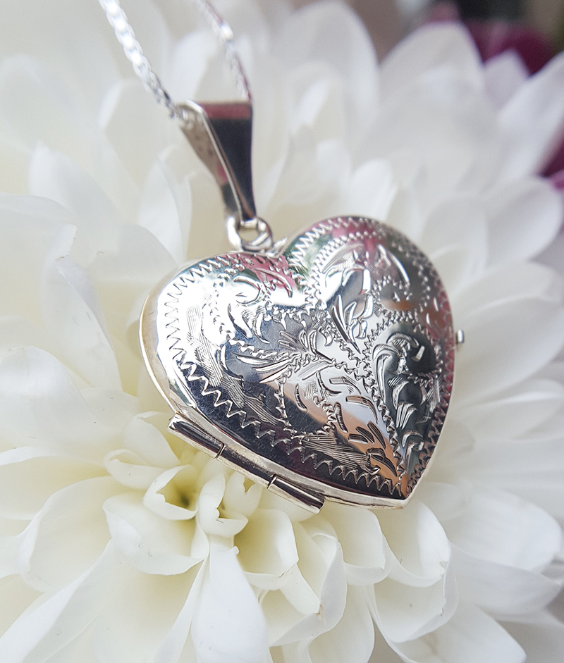 Large Sterling Silver Engraved Heart Locket Necklace