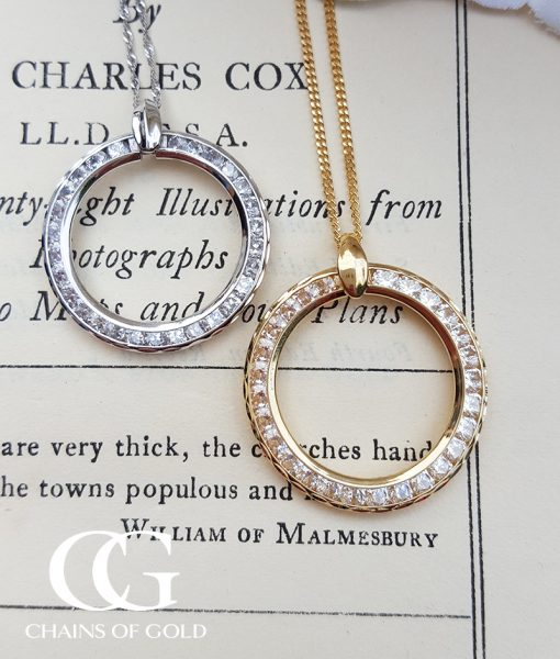 9ct gold circle of love life necklace in yellow or white aloadofball Choice Image