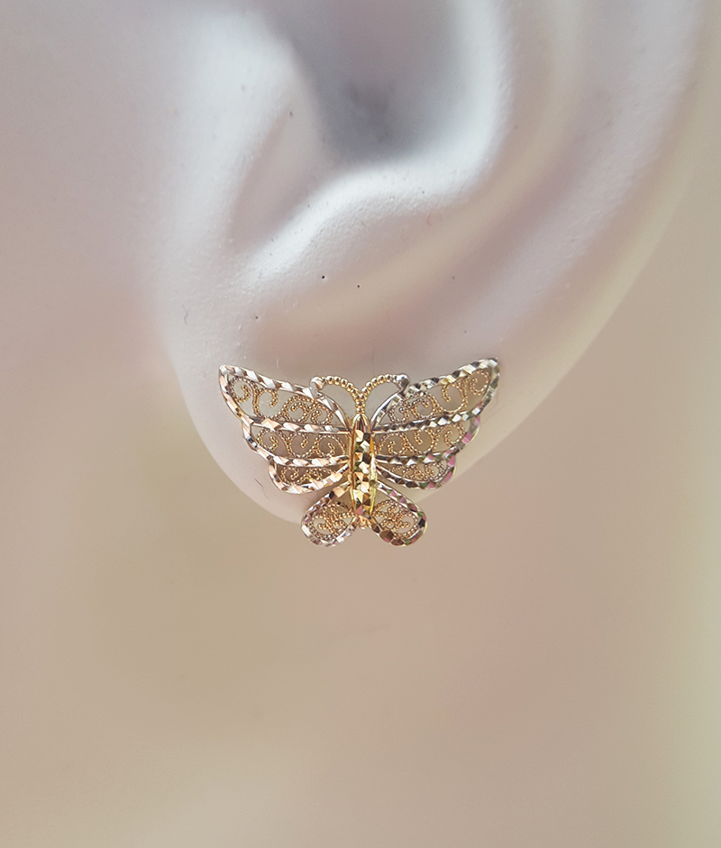 fa436aeac 9ct Two Colour Gold Butterfly Stud Earrings | Chains of Gold
