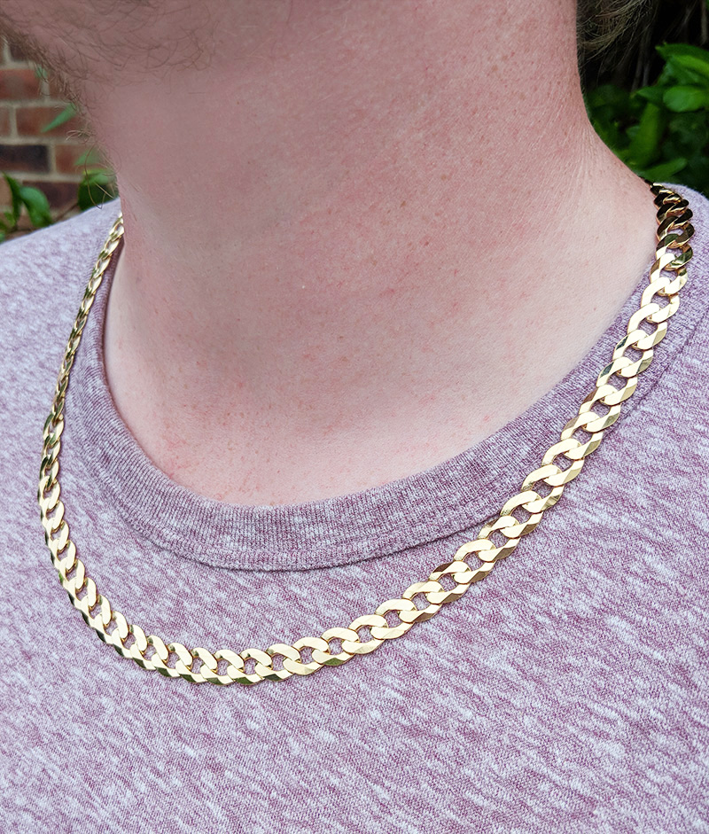 bdac25885 Heavy Solid 9ct Yellow Gold 8.2mm Diamond Cut Curb Chain Necklace 20″-28