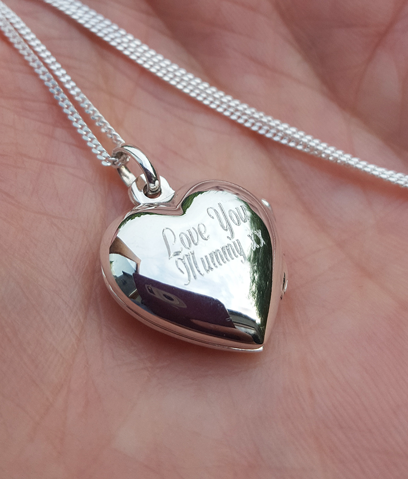 Sterling Silver Heart Shaped Locket Necklace