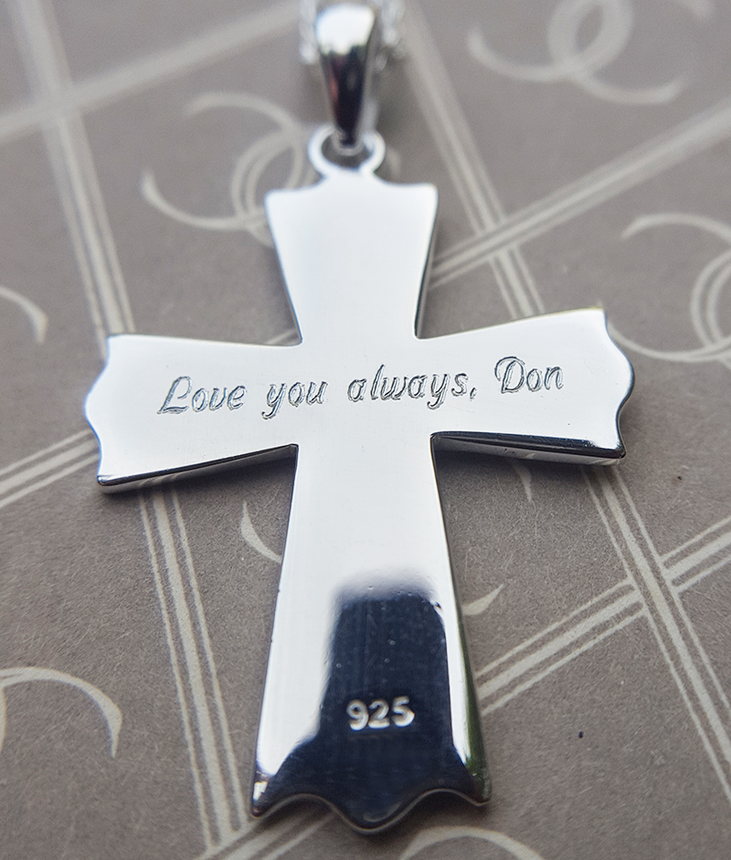 Sterling Silver Serenity Prayer Cross Pendant Necklace