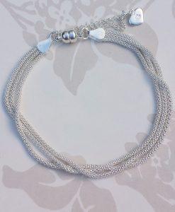 Sterling Silver 3 Strand Popcorn Magnet Clasp Bracelet
