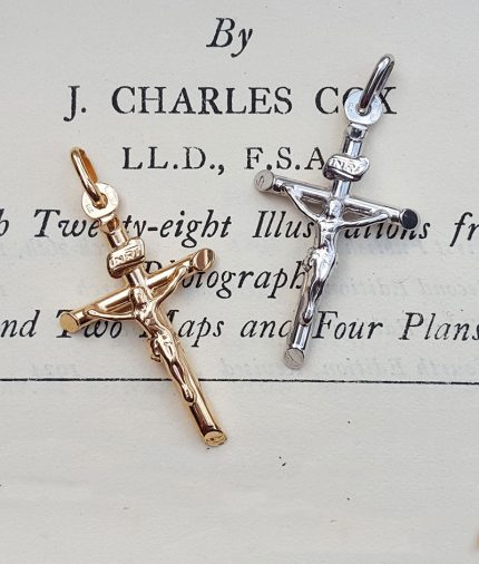 9ct Gold 3.4cm Crucifix Pendant Necklace in White & Yellow