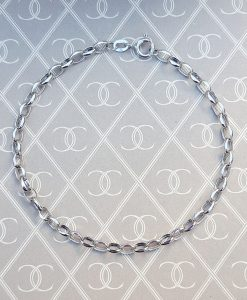 "Ladies 9ct White Gold Oval Belcher Bracelet 7"" & 7.5"""