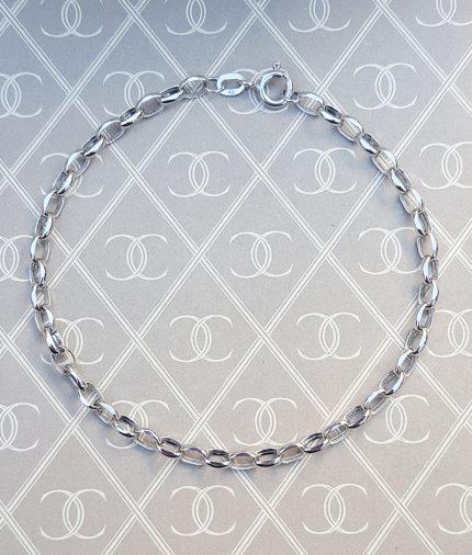 "Ladies 9ct White Gold Oval Belcher Bracelet 7"" & 7.5"""