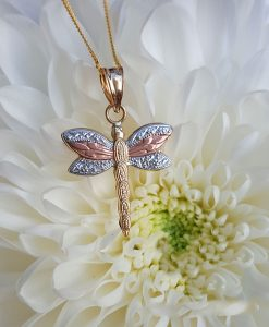 9CT three colour gold dragonfly pendant