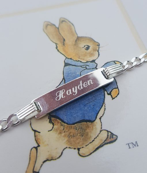 Personalised Sterling Silver Children's Figaro ID Bracelet