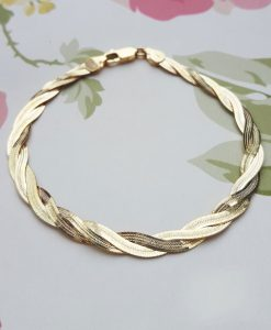 9ct Yellow Gold Twined Herringbone Bracelet 7""
