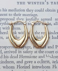 9ct Yellow Gold Tulip Hoop Earrings