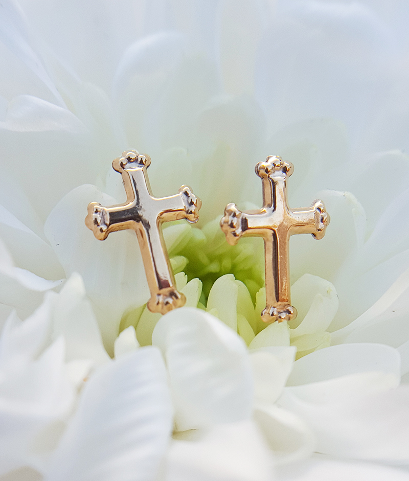 Small Children S 9ct Yellow Gold Cross Crucifix Stud Earrings