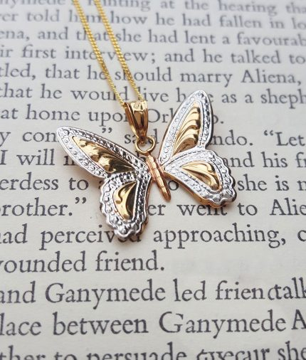 9ct Three Colour Gold Butterfly Necklace