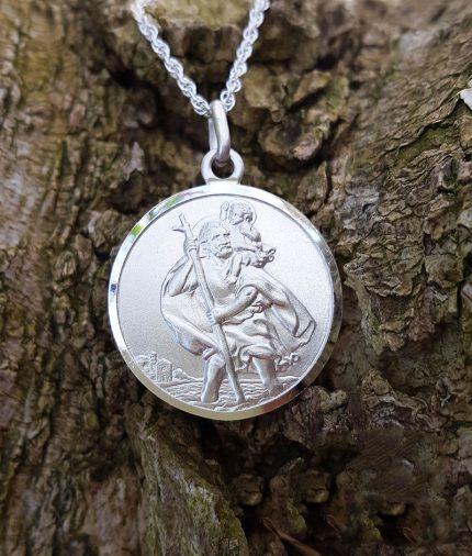 Sterling Silver 1.9cm Unisex Men's St Christopher Necklace