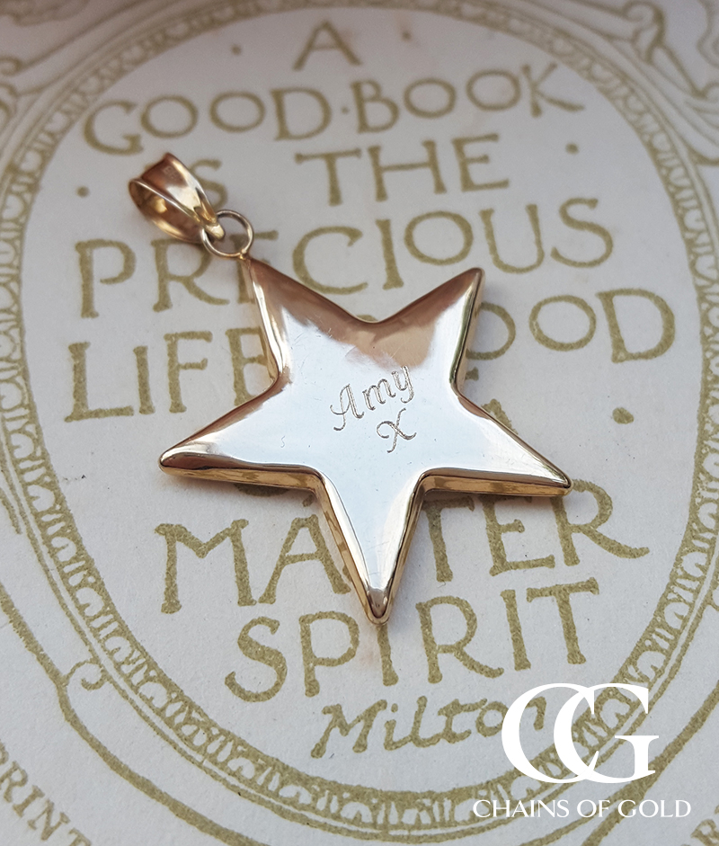 Personalised 9ct Yellow Gold Star Necklace