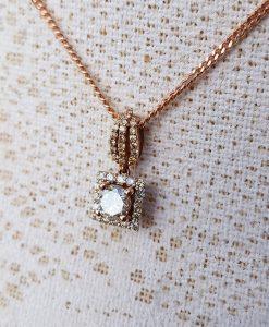 14ct Rose Gold & Diamond Halo Pendant Necklace 0.70ct
