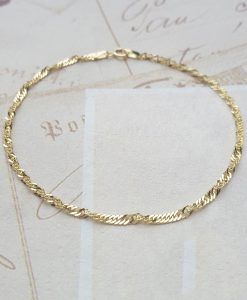 9ct Yellow Gold Diamond Cut Twist Curb Bracelet 7""