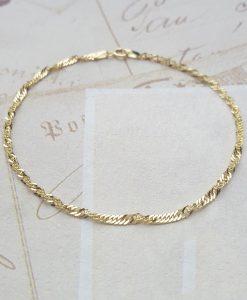 "9ct Yellow Gold Diamond Cut Twist Curb Bracelet 7"""