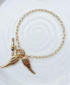 """9ct Yellow Gold Angel Wings T-Bar Belcher Bracelet 7"""""""