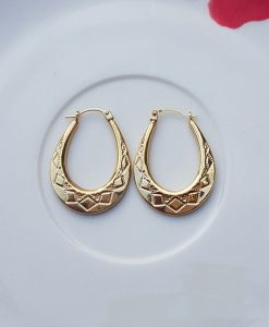 9ct Yellow Gold Oval Hoop Earrings with Pattern Detail