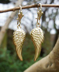 9ct Yellow Gold Angel Wings Earrings