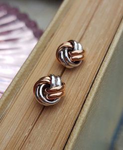 9ct Gold Two Colour 10mm Knot Stud Earrings
