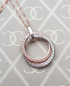 9ct Rose & White Gold Circle Necklace