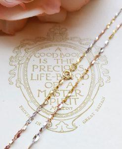 9ct Three Colour Gold Fancy Twist Necklace