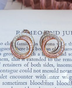 9ct Two Colour Gold Circle Earrings with Cubic Zirconia