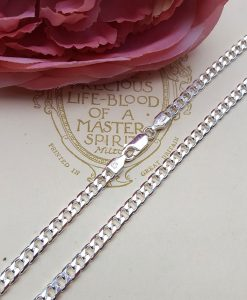 "Sterling Silver 4mm Diamond Cut Curb Chain 18"" 20"""