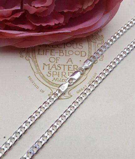 "Sterling Silver 4mm Diamond Cut Curb Chain 18"" 20"""