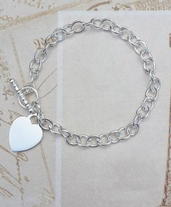 Personalised Sterling Silver Belcher Bracelet with Heart Charm 7.5""