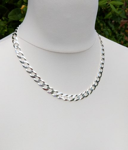 Mens Heavy Sterling Silver 9 5mm Flat Curb Chain 20 Quot 22 Quot 24