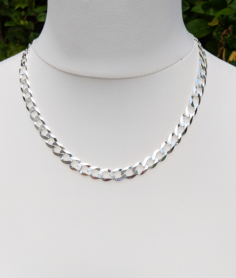 c126ef4940c3b Men's Sterling Silver 9.5mm Curb Chain Necklace 20″ 22″ 24″
