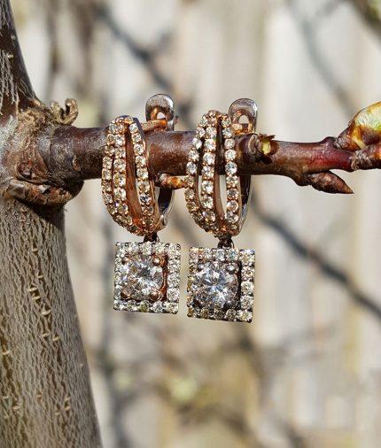 9ct Rose Gold & Diamonds Halo Drop Earrings 1.7ct