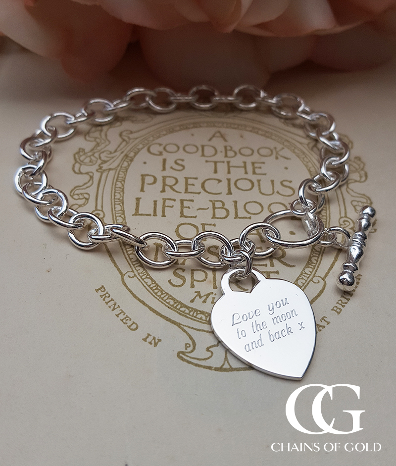 Personalised Sterling Silver Belcher Bracelet with Heart Charm 7.5″