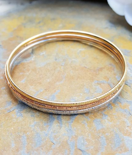 9ct Gold Hammered Slave Bangle in Rose, White or Yellow