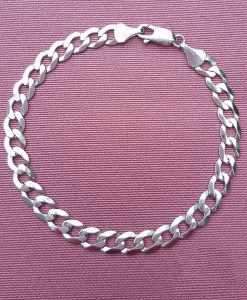 9ct White Gold Diamond Cut Flat Curb Bracelet 7""