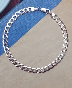 9ct White Gold Diamond Cut Curb Bracelet 8""