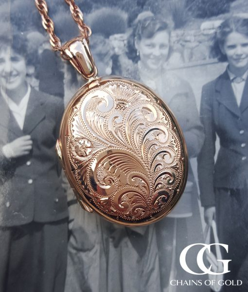 Large Hand Engraved 9ct Gold Locket Charles Green